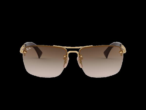Gafas Ray-Ban RB3607 001 13 marco dorado lentes café degradado