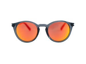 Gafas redondas gris translúcido lente rojo